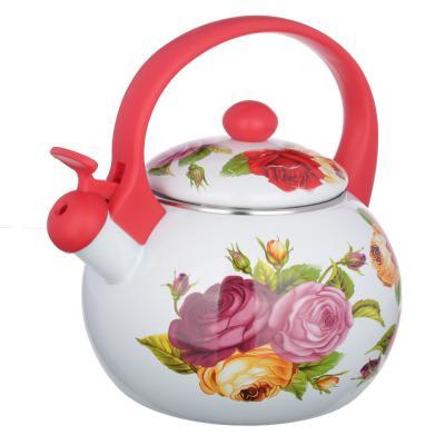 894-406 Чайник 2,2 л VETTA Цветы, эмалированный со свистком, индукция