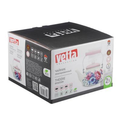894-407 VETTA Чайник эмалированный 2,5л, 3 дизайна