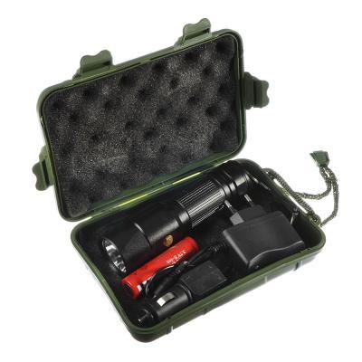 198-107 ЧИНГИСХАН Фонарь металлический XM-L T6 LED, 13,5x3,5 см, аккумулятор 18650, адаптер 220В и 12В, бокс