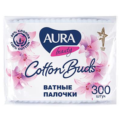 914-021 Ватные палочки AURA п/э пакет 300шт 04565