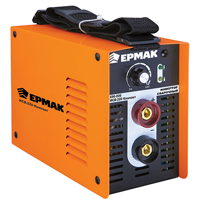 696-006 ЕРМАК Инвертор сварочный ИСВ-220 Компакт, 220В, 9,5 кВА, 10-220А, электроды 2,5--5 мм, раб цикл 60%