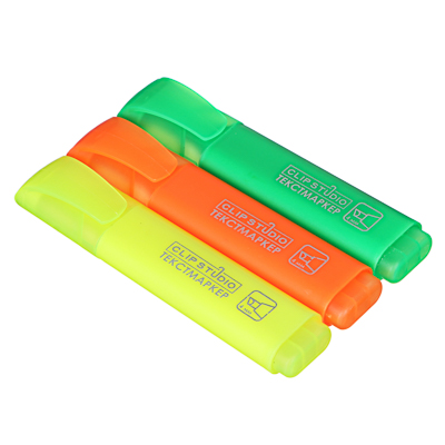 526-501 Набор текстовыделителей, 3 цвета, линия 4 мм, скошенный наконечник, плоский корпус