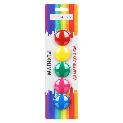 526-517 Набор магнитов d.3 см,, ассорти 5 цветов, на блистере