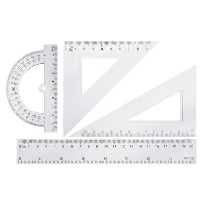 583-131 Геометрический набор, 4 предмета (линейка 20см, 2 угольника, транспортир) прозрачный