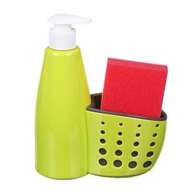 441-108 Диспенсер для мыла с губкой в комплекте, пластик, 16х7х19 см, VETTA