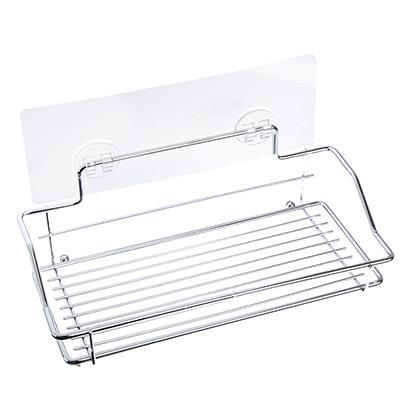 463-794 Полочка для ванной прямоугольная хром с силиконовым креплением 25x11,5x9см