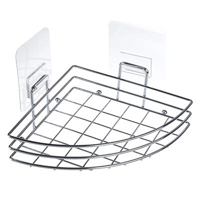 463-795 Полочка для ванной угловая хром с силиконовым креплением, 27x18x11см