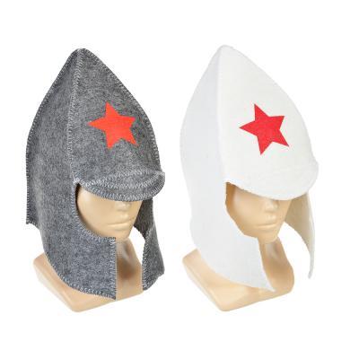 """364-157 Набор банный 2 пр. (шапка, варежка), """"Буденовец"""", белый, серый"""