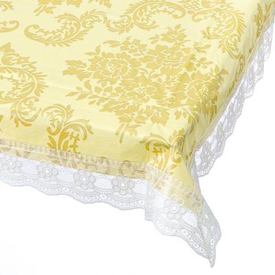 479-192 Скатерть на стол виниловая, на фланелевой основе с ажурной каймой 137x137см, VETTA