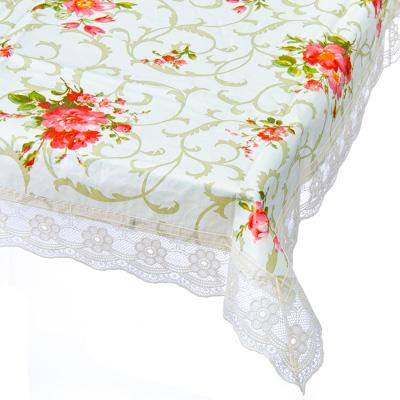 479-194 Скатерть на стол виниловая, на фланелевой основе с ажурной каймой, 137x137см, VETTA