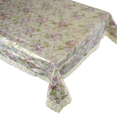 479-198 Скатерть на стол виниловая, клеенка с ажурной каймой, 152x228см, VETTA