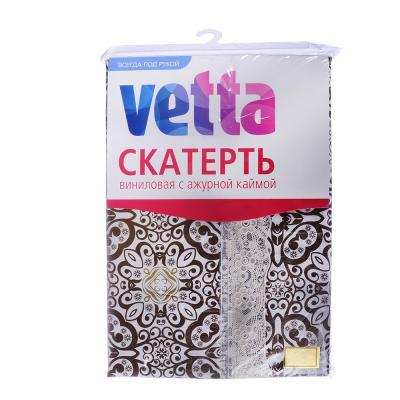 479-200 Скатерть на стол виниловая, клеенка с ажурной каймой, 120x152см, VETTA