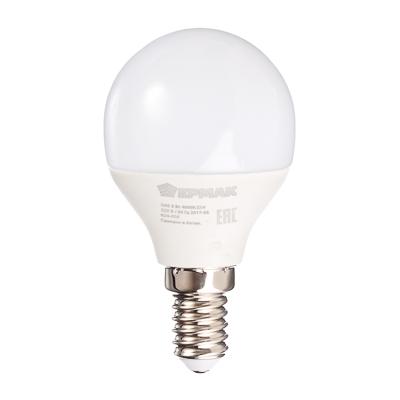 624-005 ЕРМАК Лампа светодиодная G45, 5 Вт, E14, 400 Лм, 4000К, холодный свет