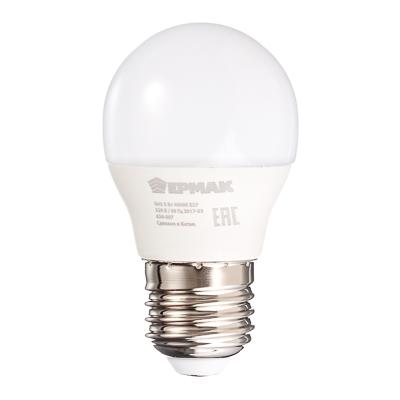 624-007 ЕРМАК Лампа светодиодная G45, 5 Вт, E27, 400 Лм, 4000К, холодный свет