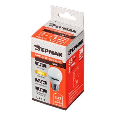 624-011 ЕРМАК Лампа светодиодная G45, 7 Вт, E27, 560 Лм, 3000К, теплый свет