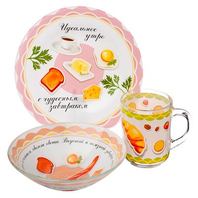 """877-567 Набор посуды 3пр.(тарелка 19см, салатник 16см, чашка 220мл), стекло, """"Идеальное утро"""", Дизайн GC"""