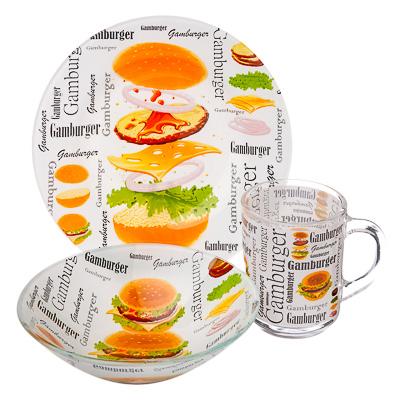"877-568 Набор посуды 3пр.(тарелка 19см, салатник 16см, чашка 220мл), стекло, ""Гамбургер"", Дизайн GC"