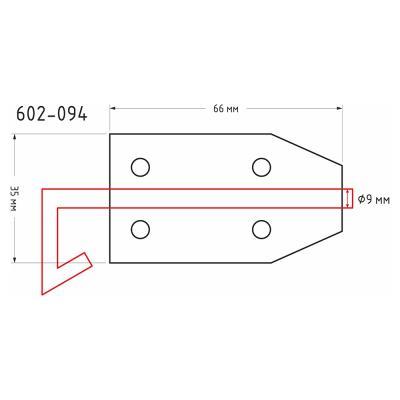 602-094 Засов дверной с проушиной ЗД-66х35мм (d9мм), сталь, покрытие белый цинк