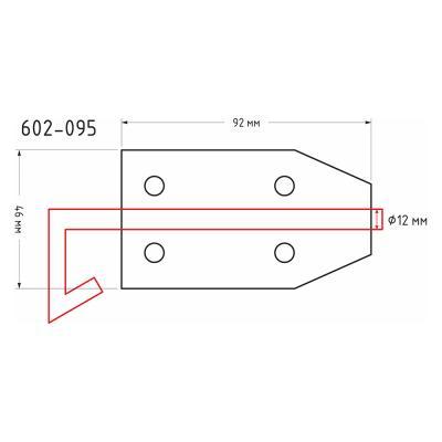 602-095 Засов дверной с проушиной, сталь, ЗД-92х46мм, d12мм, покрытие белый цинк