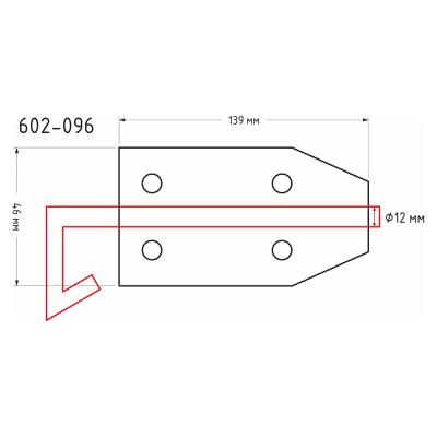 602-096 Засов дверной с проушиной, сталь, ЗД-139х46мм, d12мм, покрытие белый цинк