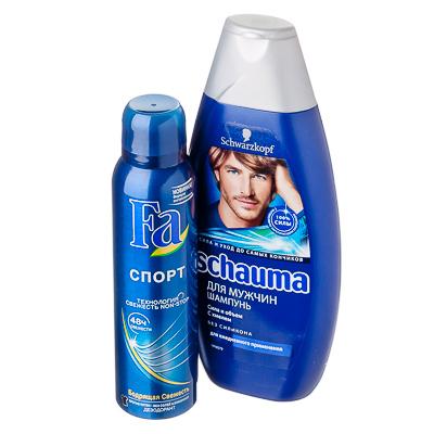 954-002 Набор для мужчин Шампунь Schauma, 380мл + Дезодорант FA Спорт,150мл