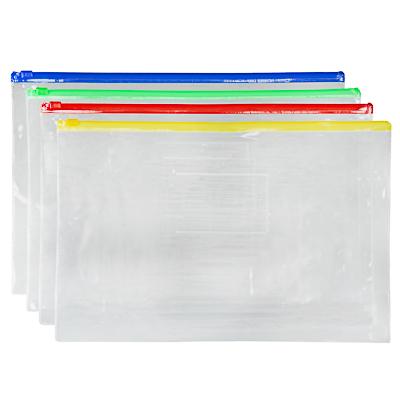 526-520 Папка-конверт на молнии А4, 23x33 см, прозрачная, ПВХ