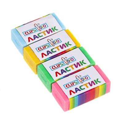 526-529 Ластик ClipStudio в картонном держателе, 4 цвета