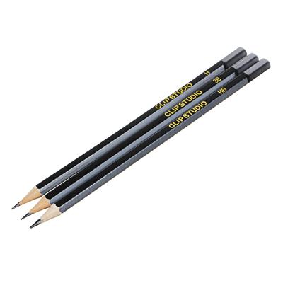 525-118 Карандаши чернографитные ClipStudio с ластиком, 3 шт. (2B, HB, H)