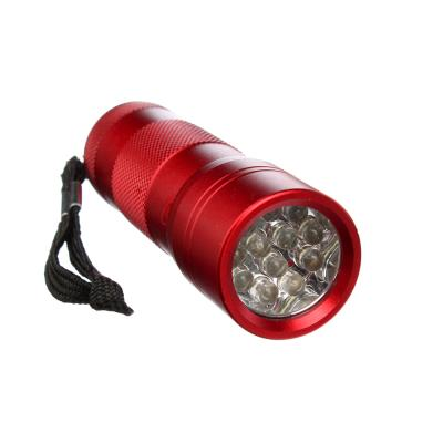 632-024 ЕРМАК Фонарик, 12LED, алюминий, 3x9,7см, питание от 3AAA (в комплект не входят), красный