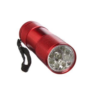 632-028 ЕРМАК Фонарик, 9LED, алюминий, 2,5x9см, питание от 3AAA (в комплект не входят), красный