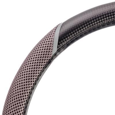 708-080 NEW GALAXY Оплетка руля, экокожа, перфорация, черный/серый, разм. (М)