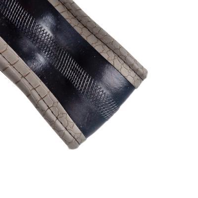 708-089 NEW GALAXY Оплетка руля, экокожа, вставки под нубук+волнистый рельеф, серый, разм. (М)