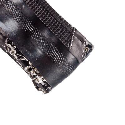 708-098 NEW GALAXY Оплетка руля с цветами, ламинированное покрытие + вставки, черный/серебристый, разм. (М)
