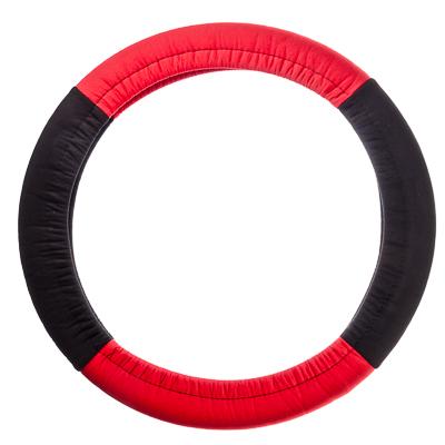 708-100 NEW GALAXY Оплетка руля, бескаркасная, полиэстер, черный/красный, разм. (М)