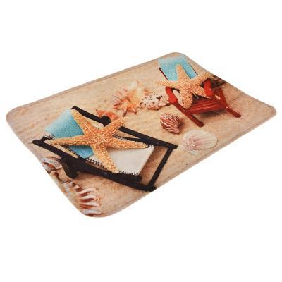 """462-617 VETTA Коврик для ванной флис, принт, губка, 0,4см, 40х60см, """"Морские звезды"""""""