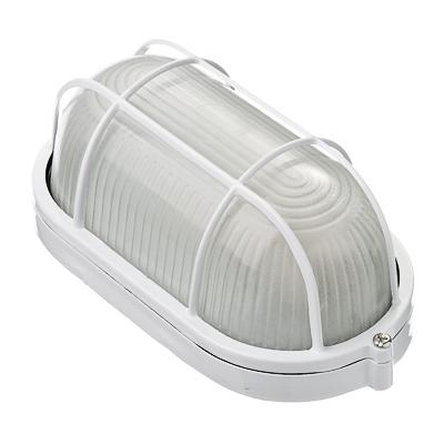 922-070 Светильник влагозащищенный белый овал с решеткой E27/60Вт, 250В, IP54, алюм.сплав/стекло, 195х105х85