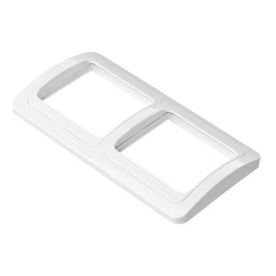904-119 Рамка двухместная горизонтальная, пластик, 152х81мм, цвет белый, арт.F2200