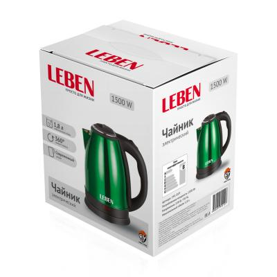 291-019 LEBEN Чайник электрический 1,8л, 1500Вт, нерж сталь, зелёный