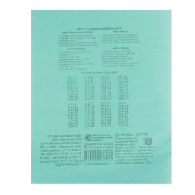 583-209 Тетрадь школьная БЕЛЫЕ ЛИСТЫ 12 листов в клетку, зеленая обложка