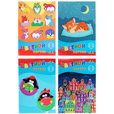 583-215 Набор картона ClipStudio А4, 7 листов, 7 цветов