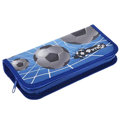 583-220 Футбол Пенал прямоугольный 9х19см, на молнии, покрытие картон