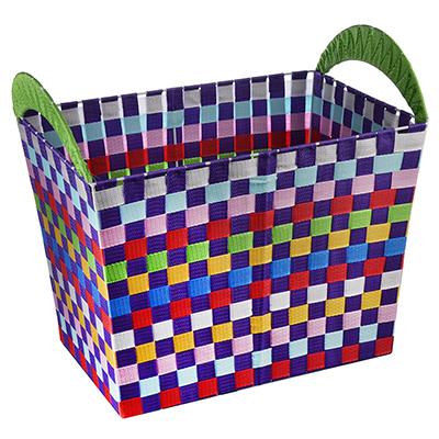 467-168 Корзина для белья плетеная, металл, текстиль, 48*32*42см, разноцветная