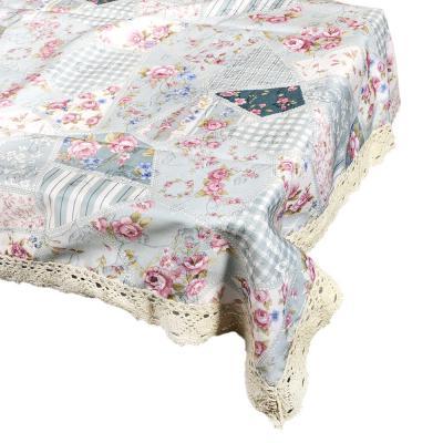 435-050 Скатерть льняная с кружевом на стол, полиэстер, 140x180см
