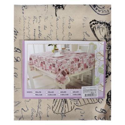 435-052 Скатерть льняная с кружевом на стол, полиэстер, 80x80см