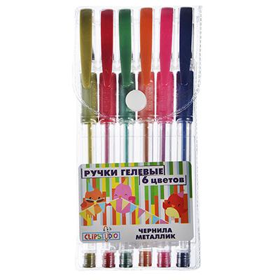 526-532 Набор гелевых ручек металлик, 6 цветов, линия 0,7 мм в ПВХ пенале