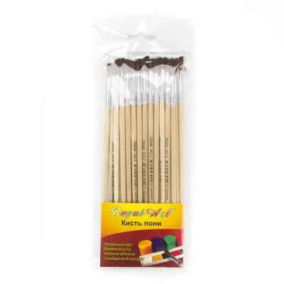 583-226 Кисть художественная волос, Пони №2, деревянная ручка, металлическая оплетка