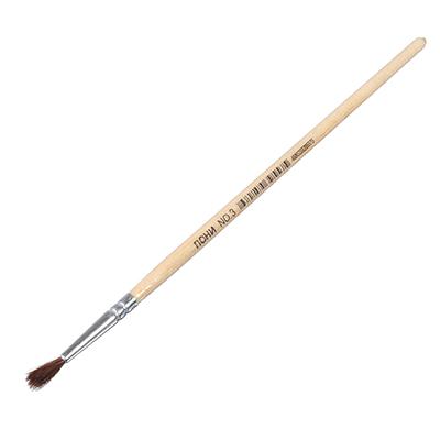 583-227 Кисть художественная волос Пони №3, деревянная ручка, металлическая оплетка