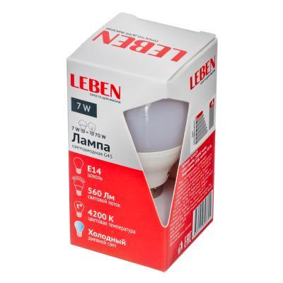 925-029 LEBEN Лампа светодиодная G45 7W, E14, 560lm 4200К