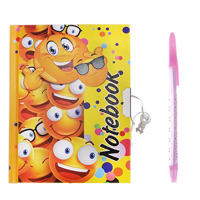 524-199 Смайлик Набор подарочный (блокнот на замке и ручка) бумага, пластик, 19х18см
