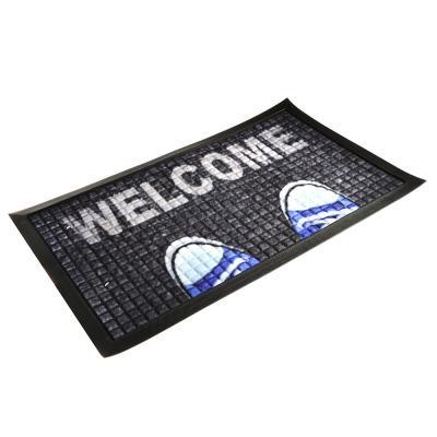 """466-282 VETTA Коврик придверный, резиновый с ворсом полиэстер, 45x75см, с принтом """"Welcome"""""""